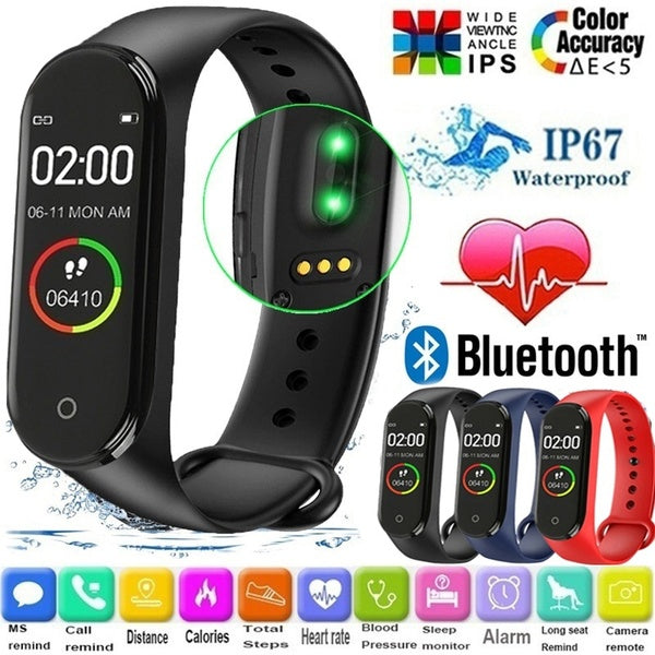 Upgraded M4 Smart Bracelet 0.95' Color Screen Smartband  IP67 Waterproof Sport Pedometer Step Distance Fitness Tracker Heart Rate Monitor Smart Bracelet Blood Pressure Health Care Smart Watch PK Xiaomi mi band 2 3