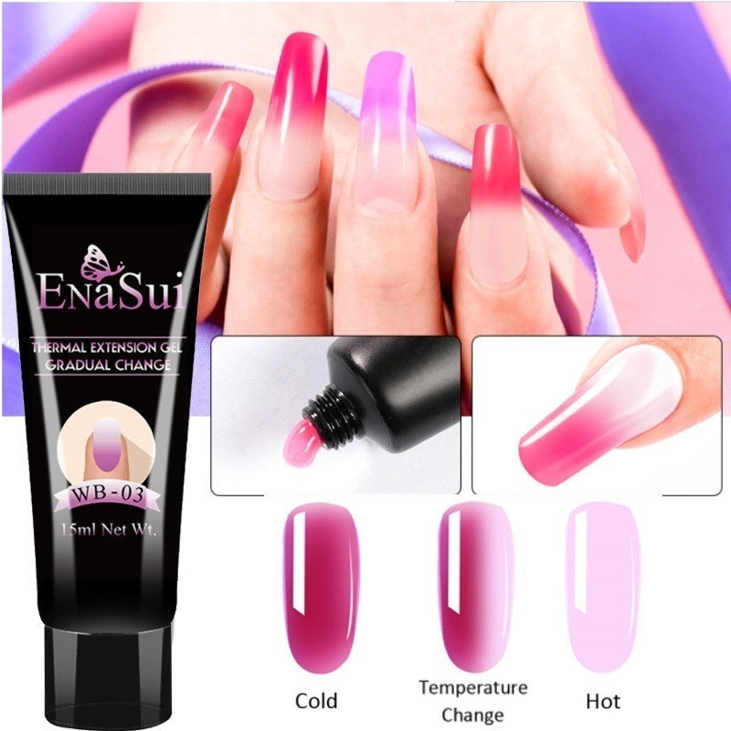 ENASUI 15ml Thermal Quick Extension Nail Gel Polish Poly Building Gel Temperature Color Changing Builder Soak Off UV Gel Varnish
