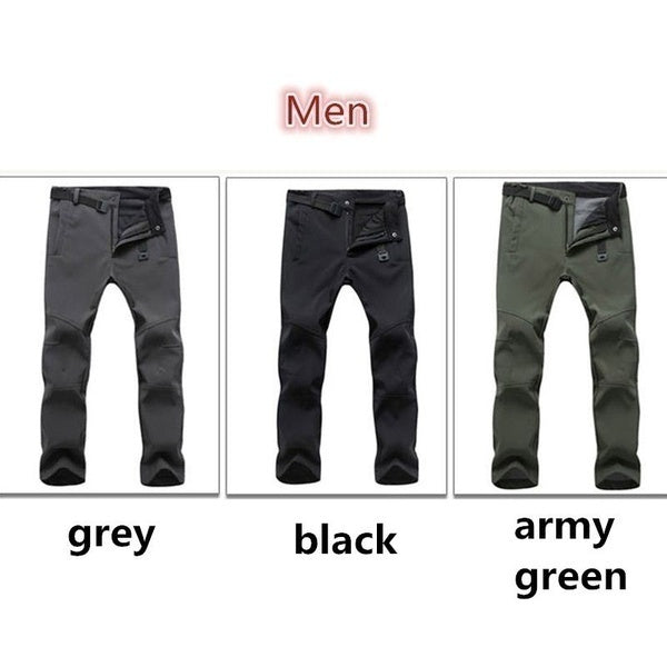 Waterproof Men's Hiking Pants Outdoor Sports Climbing Mountaineering Fishing Skating Trekking Pants Winter Warm Fleece Pants for Men