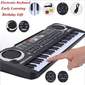 61 Keys Electronic Organ Digital Piano Keyboard with Microphone Kids Toys Stave Music Toy Develop Child's Talents