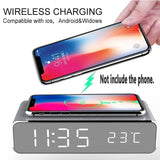 LED Electric Alarm Clock with Wireless Charger Desktop Digital Thermometer Clock(Two Option:no wireless charging/with wireless charging)