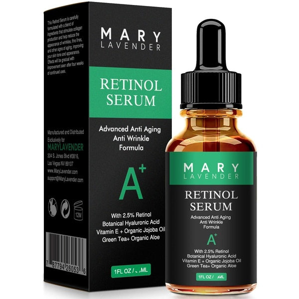 10ml MaryLavender Retinol Serum 2.5% for Face and Eye with Hyaluronic Acid,Vitamin E,Green Tea, Wheat Gem Oil,Anti Aging Anti Wrinkles Facial Serum Reduce wrinkles Fine Lines,Dark Spots, Pores,Acne,1 fl oz