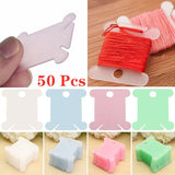 50Pcs Embroidery Floss Craft Thread Bobbin Cross Stitch Storage Holder Plastic