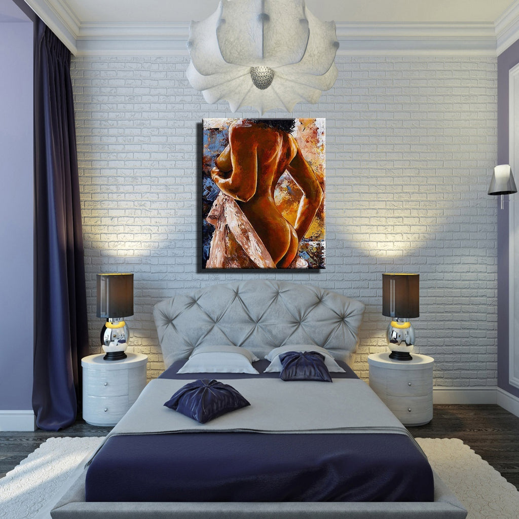 Unframedf/Hot Selling Home Decor Print Oil Painting on Canvas Wall Art,    Sexy Woman Back Nude