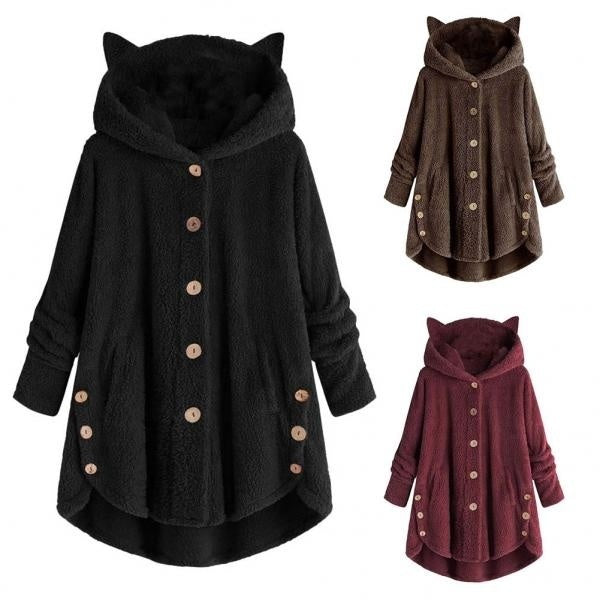 Vintage New Cute Women Winter Cute Cats Ears Hooded Irregular Hem Buttons Jacket Fleece Coat