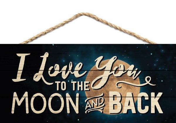 New Fashion I LOVE YOU TO THE MOON & BACK Distressed Wood Slat Sign for Mum Wife Women Home Decoration