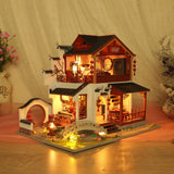 Traditional Chinese Architecture Miniature Model with LED Lights Wooden Furniture diy Dollhouse Creative Birthday Gift Kit