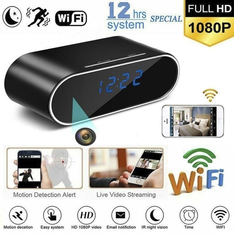 HD 1080P Wireless WiFi IP Spy Hidden Camera Motion Security Alarm Clock IR Cam Square/Round Style