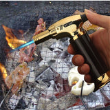 Outdoor Flame Gun Gas Butane Blow Torch Burner Welding Soldering Lighter Burner for Cigar BBQ (Without Gas)