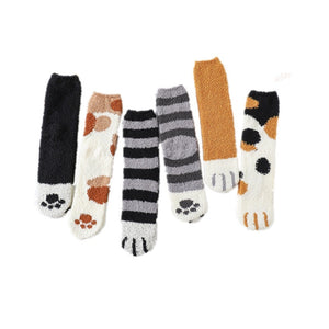 Cute animal Cat paw pattern Fluffy Home Socks Woman Harajuku Winter Thickening Coral Velvet Socks Female