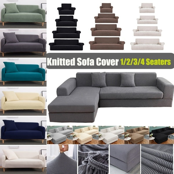 1/2/3/4 Seaters Universal Knitted Sofa Stretch Cover Non-slip Couch Cover Sofa Slipcovers