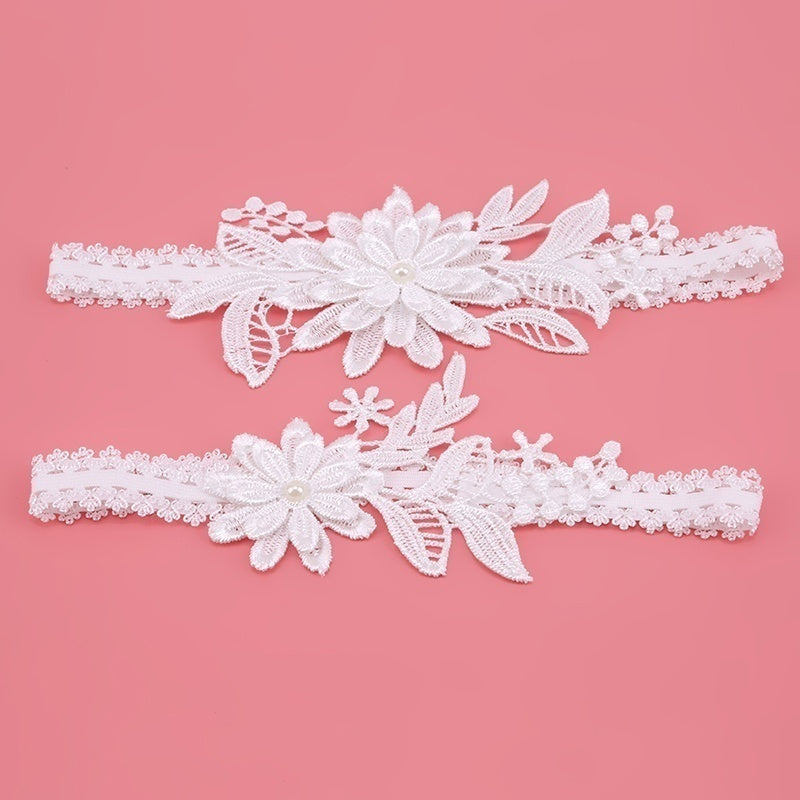 1 Pair of Gorgeous Women Bowknot Lace Garter Sexy Bridal Leg Garter Unique Wedding Cosplay Decor