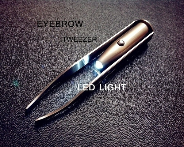 1Pcs Portable Stainless Steel Smart Design Eyebrow Hair Remove Tweezer with LED Light Makeup Tool