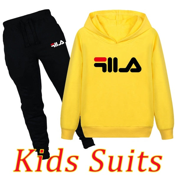 Fashion Brand Printed Kids Hoodie Set Hooded Sweatshirt + Sweatpants 2 Piece Set Boys Girls Outdoor Pullover Tracksuit Autumn Suits