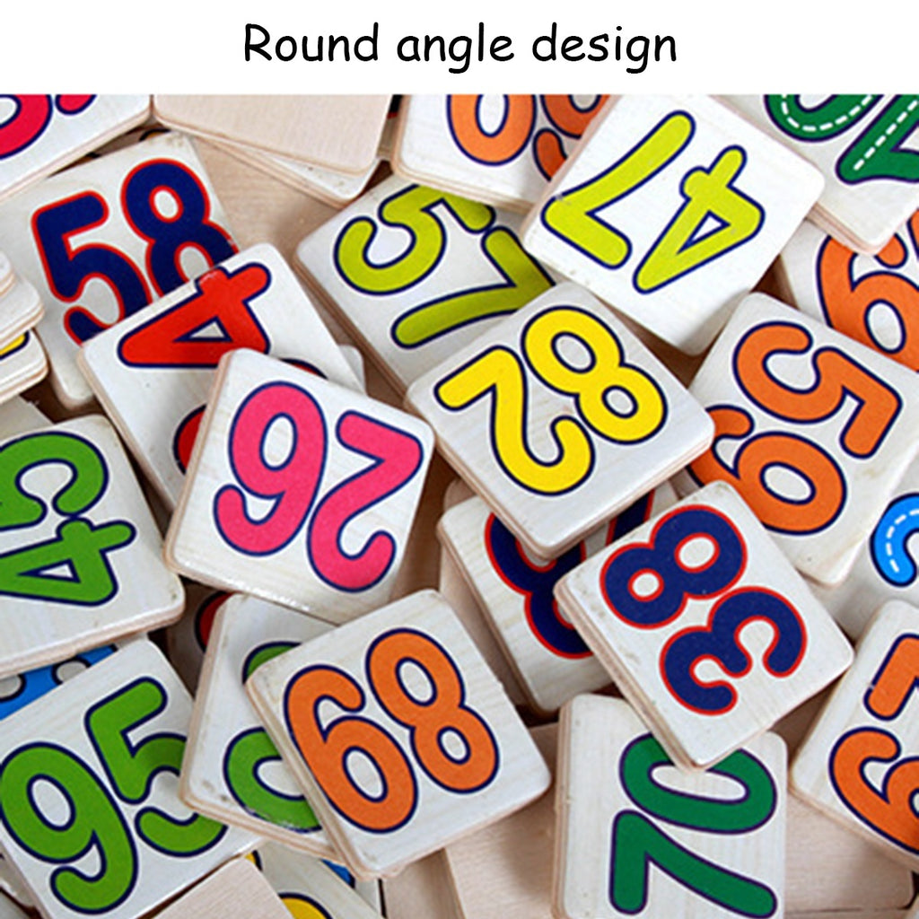 Wooden Number Mathematics Early Learning Math Educational Kids Toy Clock Design