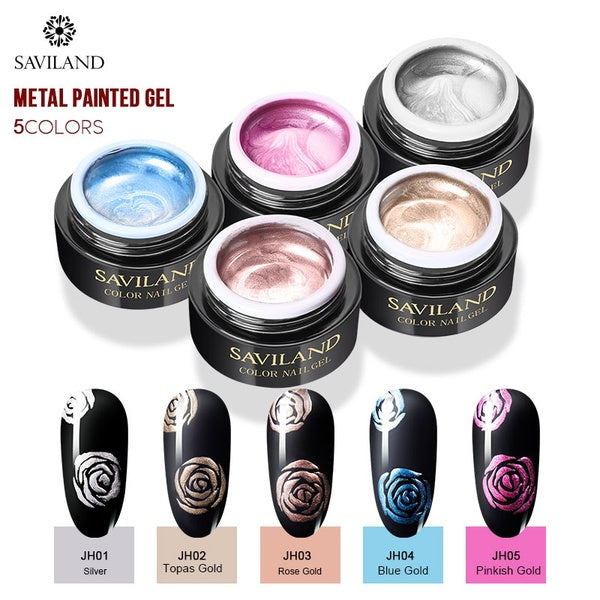 SAVILAND 8ml Metallic Mirror Painting Nail Gel Polish Gold Silver Liner Drawing UV LED Lamp Soak Off Semi Permanent Popular DIY