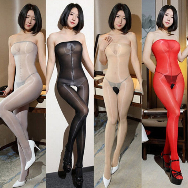 Women 8D Oil Shiny Glossy Pantyhose Body Stockings Tights Crotchless Bodysuit