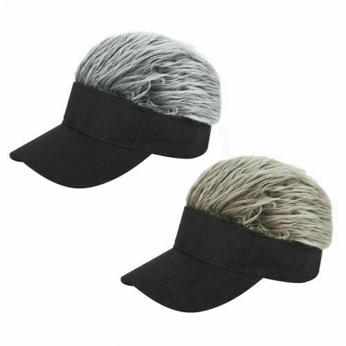 Men Women Baseball Outdoor Sport Golf Hat Cap Sun Visor Wig Hat Fake Flair Hair