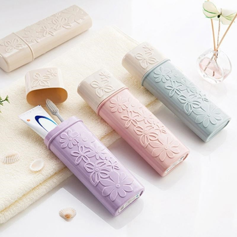 1pc Carved Pure Color Travel Case Portable Toothbrush Toothpaste Storage Box Holder Toothbrush Organizer Bathroom Products Supplies