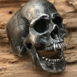 NEW Vintage 316L Stainless Steel Vampire Skull Open Jaw Silver Ring Mens Skull Biker Rock Roll Gothic Punk Jewelry Ring