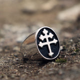 Men's 316L Stainless Steel Motorcycle Ring Classic Cross Lorraine Silver Seal Ring Fashion Jewellery