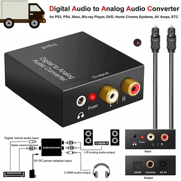 Digital Optical Toslink Coax To Analog R/L/RCA Audio Signal Converter Adapter with USB Power Cable Fiber Cable