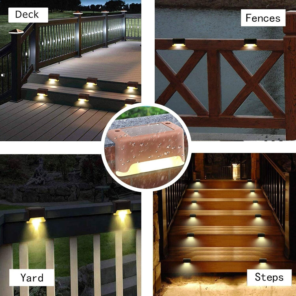 1/2/4/6 Pcs Solar Deck Lights Solar Step Lights Outdoor Waterproof Led Solar Lamp for Stairs Outdoor Pathway Patio Yard Fences and Driveway