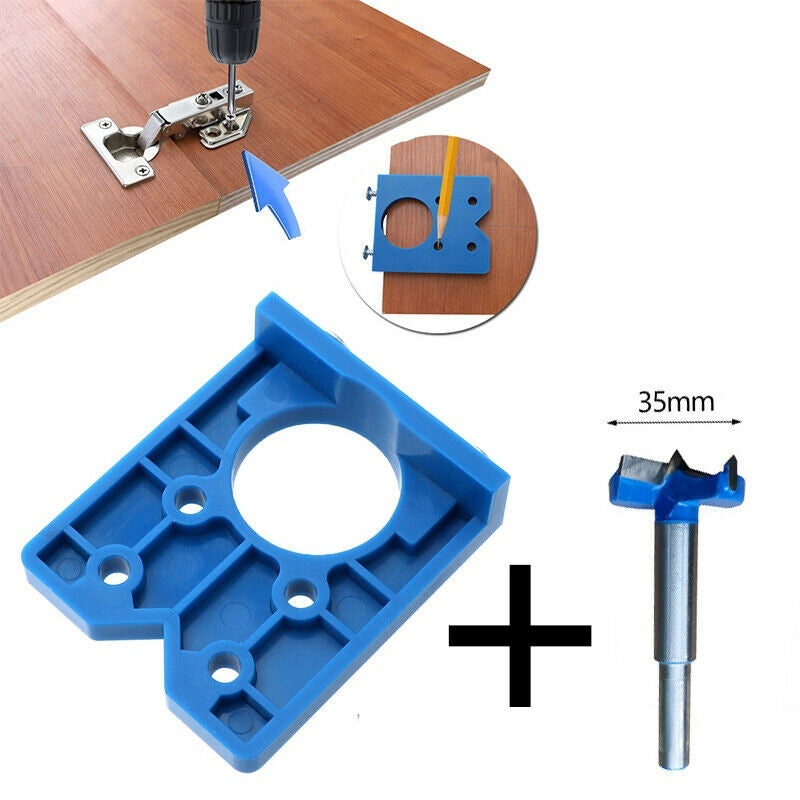 Hinge Hole Drilling Bit Jig For 35mm Concealed Cabinet Hinges Mounting Plates