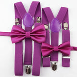 Adult Solid Colorful Suspenders Bow Tie Set Nice Polyester Charming Y-Back Braces Adjustable Suspenders Neckties