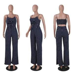 Slim Striped Strap Bow Bottoming Jumpsuit Ladies Nightclub Party Jumpsuit & Jumpsuit Chiffon Pants