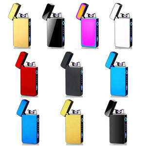 1Pc Men Fashion Windproof Dual Arc Electric  Lighter Rechargeable Flameless with LED Power Display