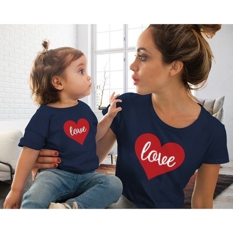 Mom and Daughter or Son Heart Print Love T Shirt Tees Valentine's Day Shirt for Kids