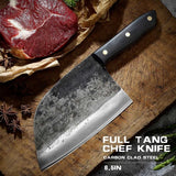 Siberian Handmade Butcher Forged Kitchen Knives Camping High Carbon Steel Outdoor Chef Knife Full Tang Handle Knife with Gift Sheath
