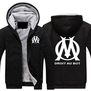 Olympique De Marseille Hoodies Jacket Winter Mans Unisex Casual Wool Liner Fleece Man Coat Sweatshirts