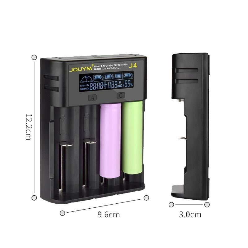 JOUMY J4  LCD Battery Charger 4 Slot Charging 18650 3.7V 18350 18500 21700 20700B 10440 26650 1.2V Ni-MH/Cd,SC, C A AA AAA F6 NiMH Battery