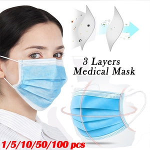 1pcs/5pcs/10pcs/50pcs/100pcs 3-Ply Disposable Medical Surgical Mask Face Mouth Masks with Elastic Ear Loop for All People