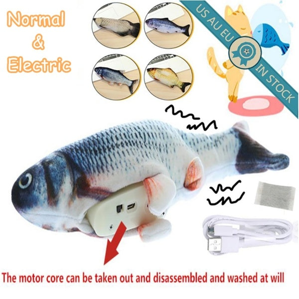 Cat Electric Chargeable Wagging Fish Realistic Plush Toy Simulation Catnip Soft Gift for Pet Cat Chewing