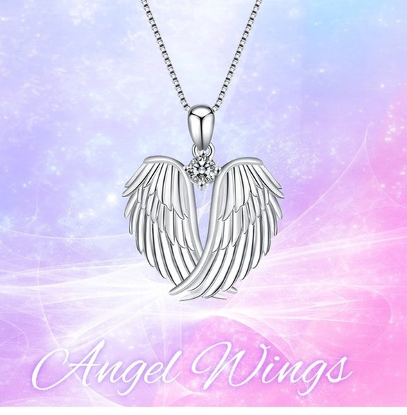1Pc Fashion angel wings 925 silver necklace jewelry female jewelry