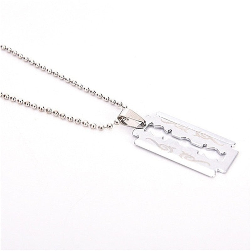 5/2/1Pcs Men Favorite Stainless Steel Razor Blade Pendant Fashion Ball Chain Necklace
