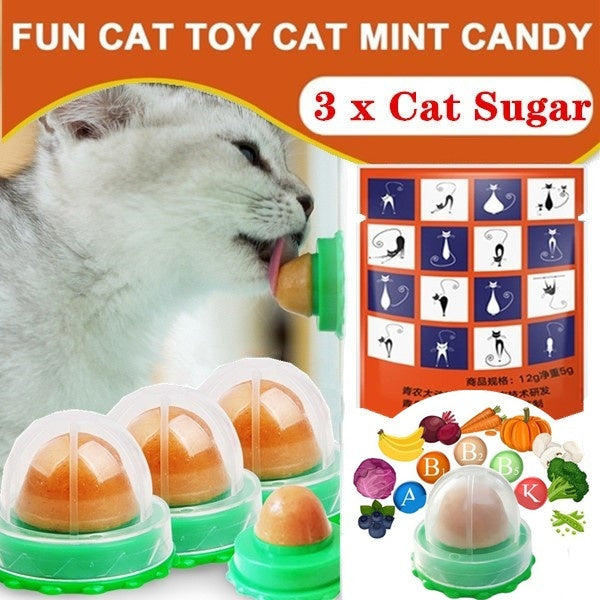 New 3Pcs Healthy Funny Lovely Cat Snacks Catnip Sugar Candy Licking Solid Nutrition Long Strong Pill Energy Ball Toys