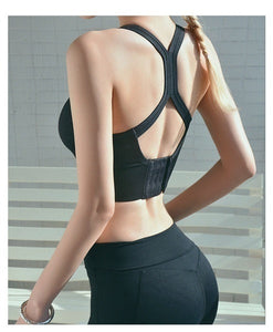 Hot Sale Women Fashion Sports Bra Solid Color Sleeveless Backless Bralette Yoga Bra Fitness Top Cross Bandage Gym Wear Tank Tops Plus Size S-3XL