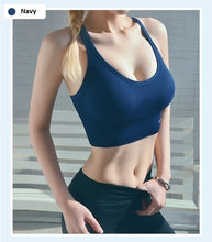 Load image into Gallery viewer, Hot Sale Women Fashion Sports Bra Solid Color Sleeveless Backless Bralette Yoga Bra Fitness Top Cross Bandage Gym Wear Tank Tops Plus Size S-3XL
