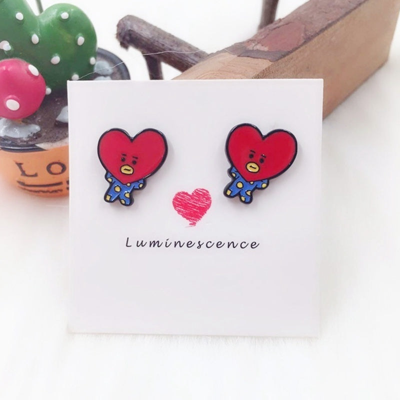 Fashion Kpop Star Bts Bangtan Boys Earrings Cartoon Bt21 Jimin Studs Earring Girl Party Jewelry Fans Gifts