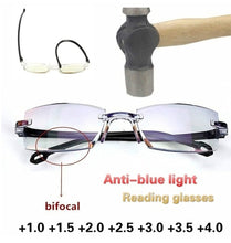Load image into Gallery viewer, Rimless Diamond-cut Reading Glasses Anti-blue Light and Blue Film Integrated for Women Men Full Degree +1.0 +1.5 +2.0 +2.5 +3.0 +3.5 +4.0