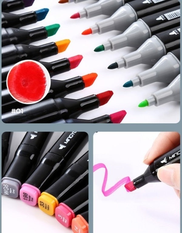 80 60 48 40 36 30 24 Colors Single Art Markers Brush Pen Sketch Alcohol Based Markers Dual Head Manga Drawing Pens Art Supplies_EDF