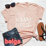 Happy Easter Printed Women Easter Day T-shirts Women Fashion Summer O-neck Short Sleeves Shirts Jesus Christian Church Shirts Religious Tops Casual Loose Cotton Tops Women Graphic Tees Blouses Plus Size 5 Colors