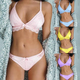 2020 NEW Women's Fashion Sweet Style Lace Bra and Briefs Two Piece Suit Underwear Casual Comfortable Bra Set Candy Color Women Lingerie