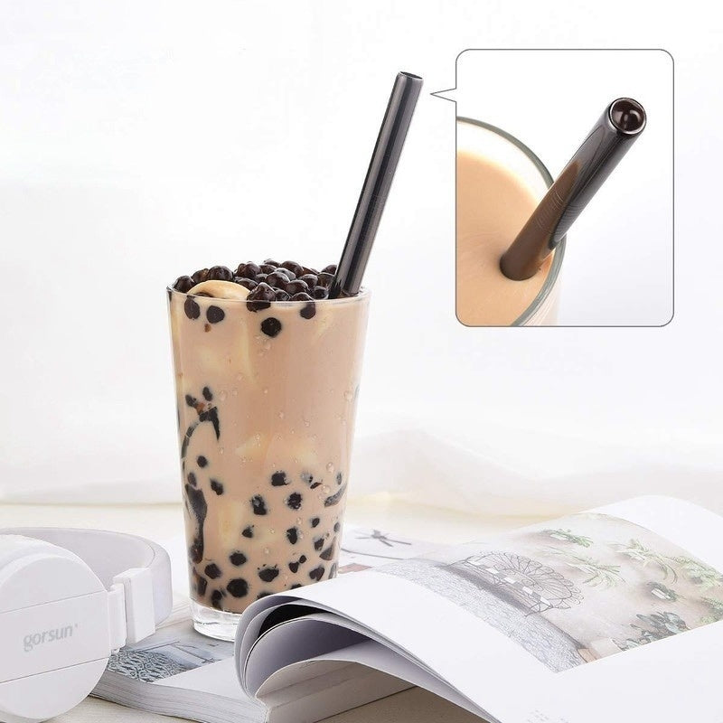 4Pcs Set Boba Bubble Tea Smoothie Straws Reusable Stainless Steel Drinking Metal Drinking Straw Colorful Tubes Brush Bag Straws
