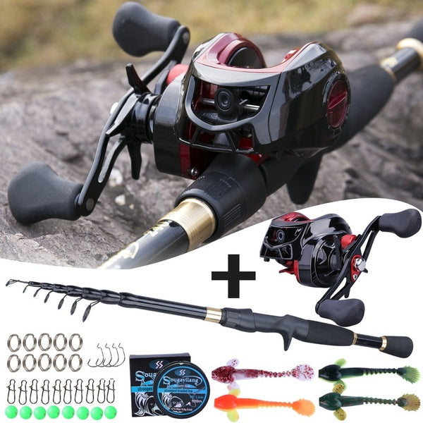 Sougayilang  Telescopic Fishing Rod Combo Casting Rod with 17+1bb Baitcasting Fishing Reel Fishing Lure Line Set
