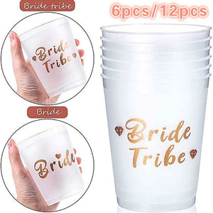 6Pcs/12Pcs Bride Tribe Cups Bridal Shower Wedding Engagement Party Bride To Be Drinking Cups Hen Night Bachelorette Party Decor
